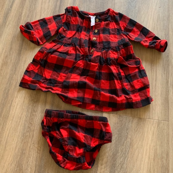 Carters Baby Girls Red Buffalo Check Holiday Dress
